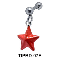 Bright Red Star Dangling Upper Ear Piercing TIPBD-07E