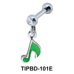 Green Musical Note Dangling Upper Ear Dangling TIPBD-101E