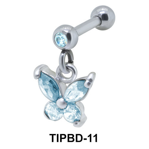 Stone Set Butterfly Upper Ear Dangling Charms TIPBD-11
