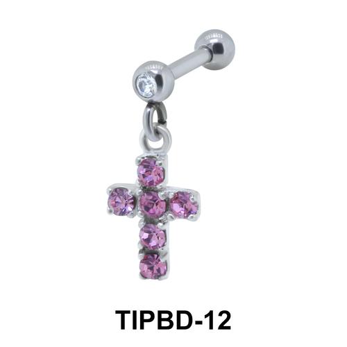 Stone Set Cross Shaped Upper Ear Dangling Charms TIPBD-12
