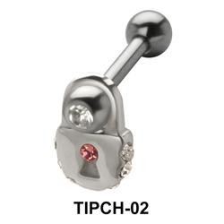 Stone Set Lock n Heart Upper Ear Charms TIPCH-02