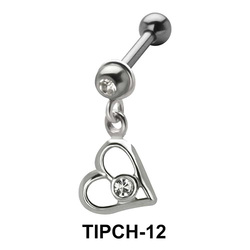 Stone Set Heart Dangling Upper Ear Charms TIPCH-12