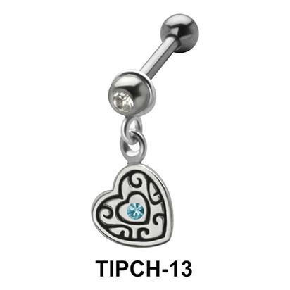 Stone Set Heart Dangling Upper Ear Charms TIPCH-13
