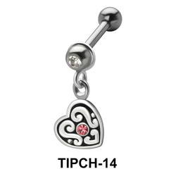 Stone Set Heart Dangling Upper Ear Charms TIPCH-14