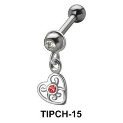 Stone Set Heart Dangling Upper Ear Charms TIPCH-15
