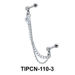 Stone Set Double Chain Upper Ear Piercing TIPCN-110-3
