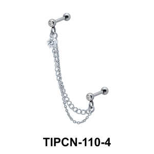 Stone Set Double Chain Upper Ear Piercing TIPCN-110-4