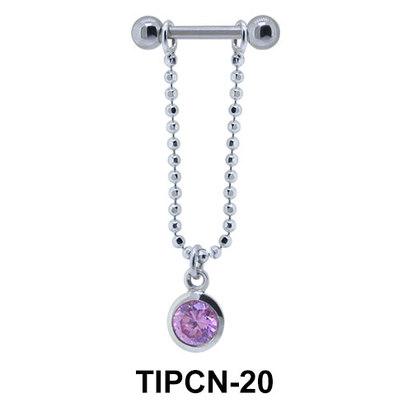 Bezel Stone Dangling Helix Chain TIPCN-20