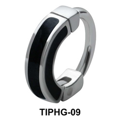 Black Enameled Upper Ear Design Rings TIPHG-09