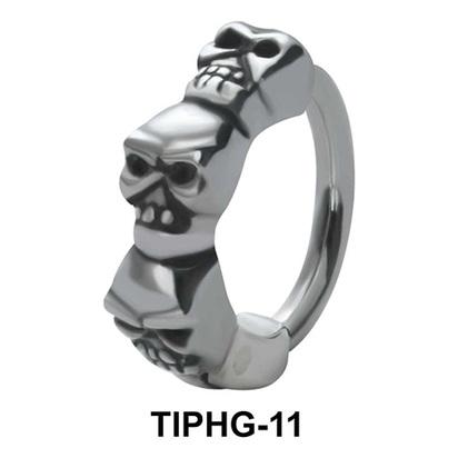 Skull Shaped Upper Ear Design Rings TIPHG-11