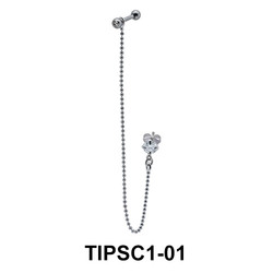 Flower Dangling Ear Piercing with Stud Chain TIPSC1-01