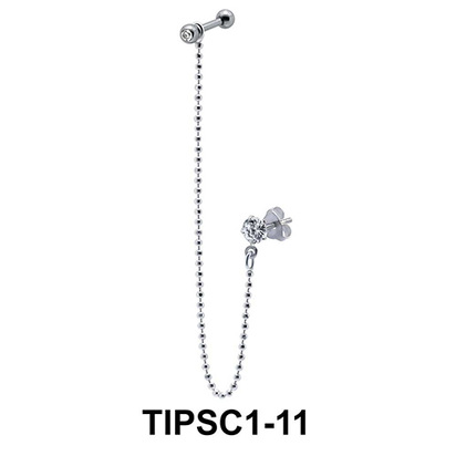 Chain Shaped Ear Piercing with Stud Chain TIPSC1-11