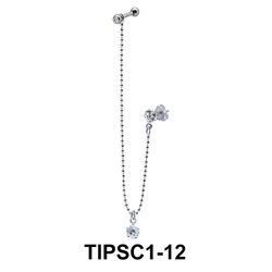 Chain with Stone Ear Piercing with Stud Chain TIPSC1-12