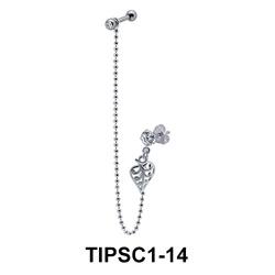 Leaf n Stone Set Ear Chain Piercing TIPSC1-14