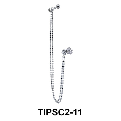 Ear Chain Piercing with Stone TIPSC2-11