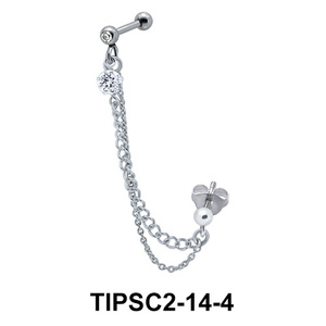 Stone Set Ear Chain Piercing TIPSC2-14-4