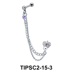 Stone Set Ear Chain Piercing TIPSC2-15-3