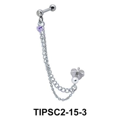 Stone Set Ear Chain Piercing TIPSC2-15-3