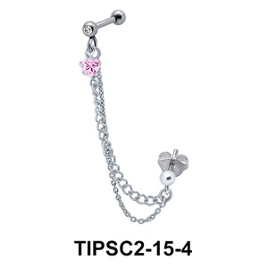 Pink Stone Set Ear Chain Piercing TIPSC2-15-4