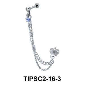 Blue Star Stone Ear Chain Piercing TIPSC2-16-3