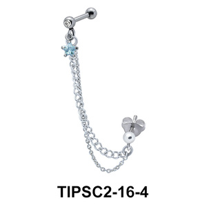 Ear Chain Piercing with Blue Star Stone TIPSC2-16-4