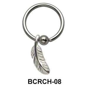 Feather Closure Rings Charms BCRCH-08