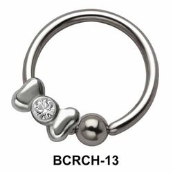 Stoned Bow Closure Rings Charms BCRCH-13