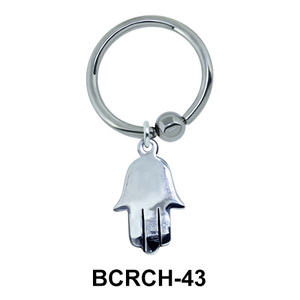 Shiny Hamsa Hand Closure Rings Charms BCRCH-43