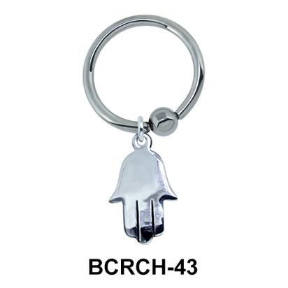 Shiny Hamsa Hand Closure Rings Charms BCRCH-43
