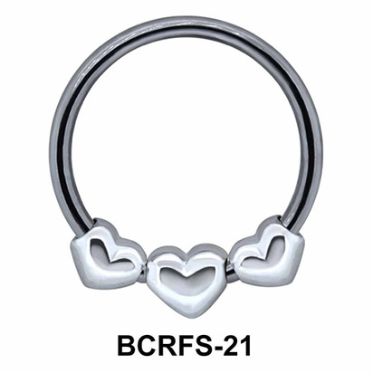 Three Hearts Closure Rings Charms BCRFS-21
