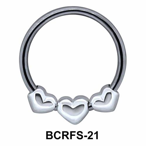 Three Hearts Closure Rings Charms BCRFS-21