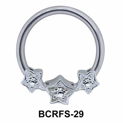 Three Stars Closure Rings Charms BCRFS-29
