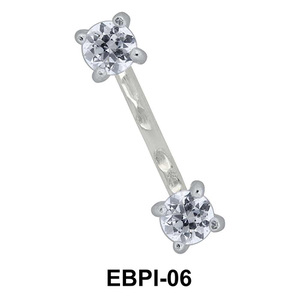 Round CZ Eyebrow Parallel Push-In EBPI-06