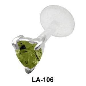 Heart Stone Labret Silver LA-106