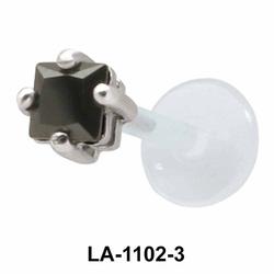 Black CZ Stone Labrets Push-in LA-1102