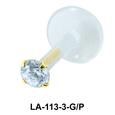 Champagne Stone Prong Set Labrets Push-in LA-113