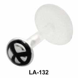 Peace Sign Black Labret Silver LA-132