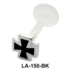 Enameled Cross Shaped Labret Silver LA-150