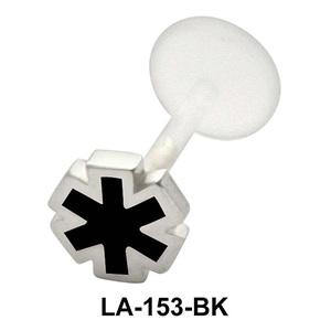 Enameled Flower Shaped Labret Silver LA-153