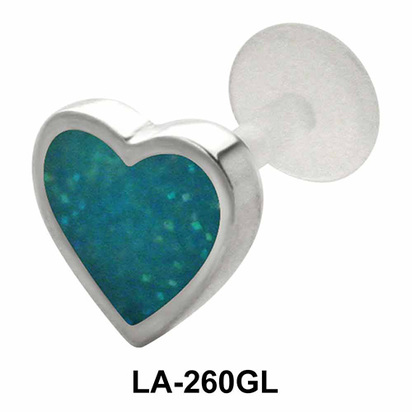 Enameled heart Shaped Labrets Push-in LA-260GL
