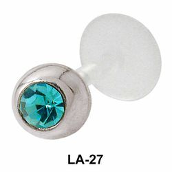 Bezel Set Rhinestone Labret Silver LA-27
