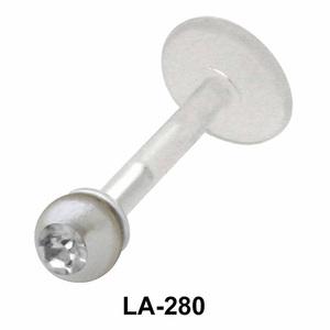 Bezel Set Gemstone Labrets Push-in LA-280