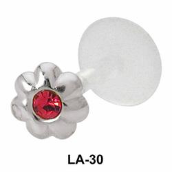 Bezel Set Stone Flower Labrets Push-in LA-30