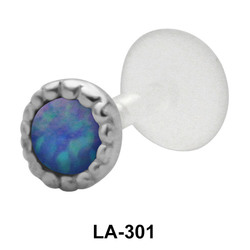 Opal set in Traditional Labret Piercing with PTFE LA-301