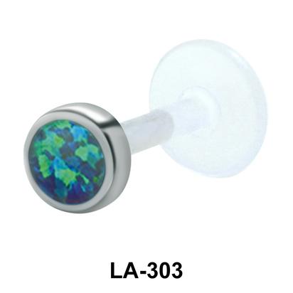 Turquoise Stone Bezel Set Labrets Push-in LA-303