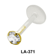 Round Stone bezel Set Labrets Push-in LA-371