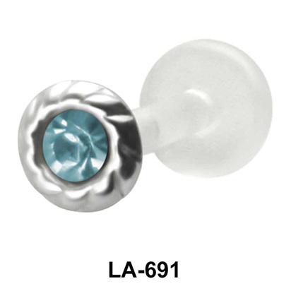 Bezel Set Stone Labrets Push-in LA-691