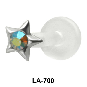 Stone in Star Labret Piercing with PTFE LA-700