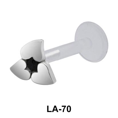 Flowery Heart Shaped Labret Silver LA-70
