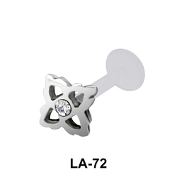 Bezel Set Stone Flower Shaped labret Silver LA-72